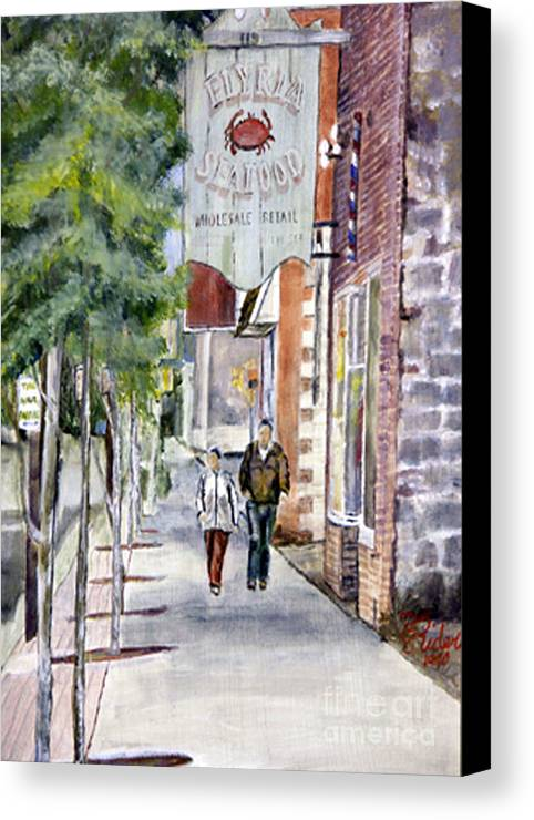 Ohio Canvas Print featuring the painting Elyria Seafood by CJ Rider