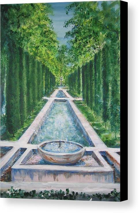 Fountain Canvas Print featuring the painting Fountain Palma De Mallorca Capital by Lizzy Forrester