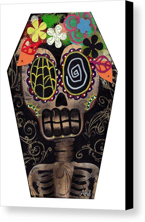 Frida Kahlo Canvas Print featuring the painting Frida In A Coffin by Abril Andrade Griffith