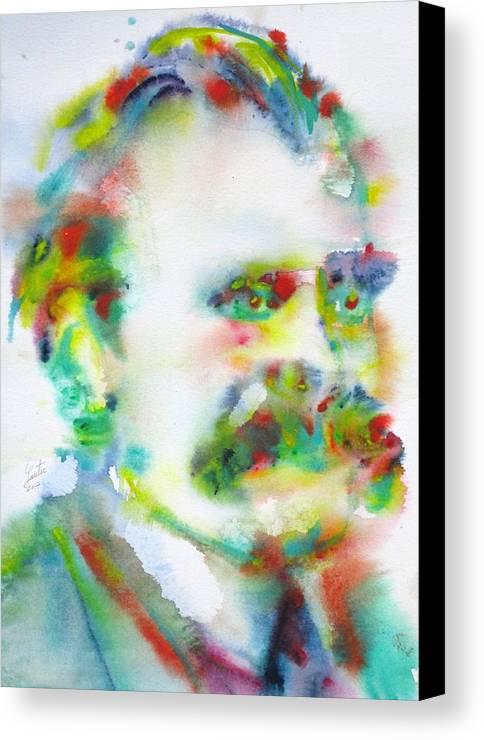 Nietzsche Canvas Print featuring the painting Friedrich Nietzsche - Watercolor Portrait.10 by Fabrizio Cassetta