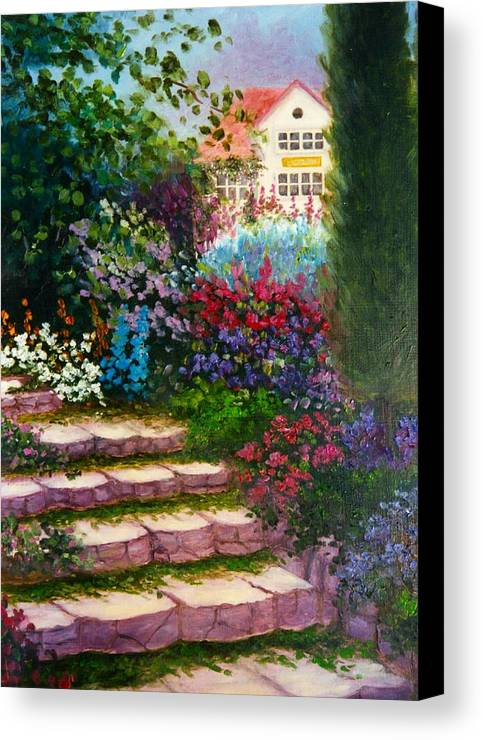 Cottage Canvas Print featuring the print Garden Steps by Jeanene Stein