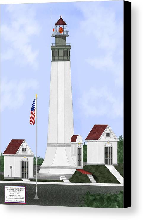 Lighthouse Canvas Print featuring the painting Grays Harbor Light Station Historic View by Anne Norskog