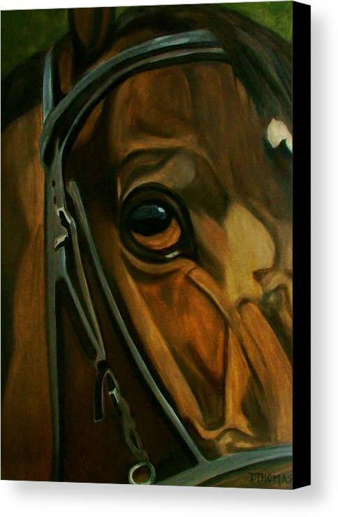 Horse Canvas Print featuring the painting Head Stall by Donna Thomas