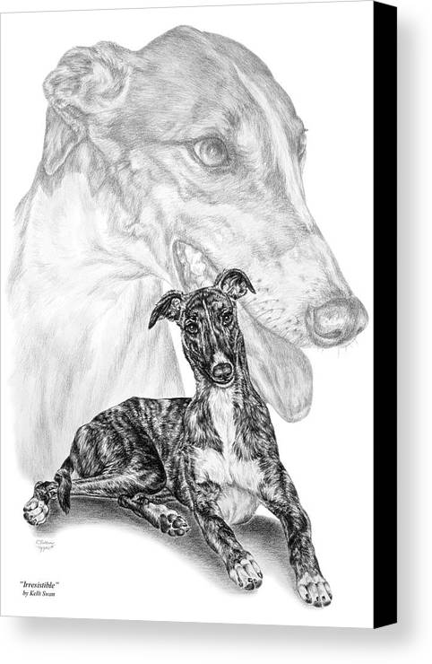 Greyhound Canvas Print featuring the drawing Irresistible - Greyhound Dog Print by Kelli Swan