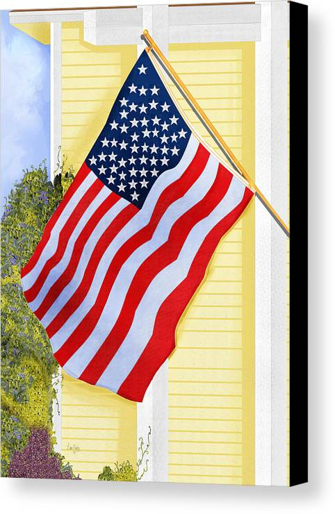 U.s. Flag Canvas Print featuring the painting It Will Fly Until They All Come Home by Anne Norskog