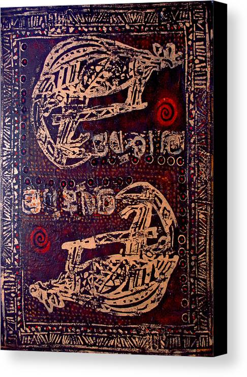 Tribal Canvas Print featuring the painting Kangaroo by Dale Witherow