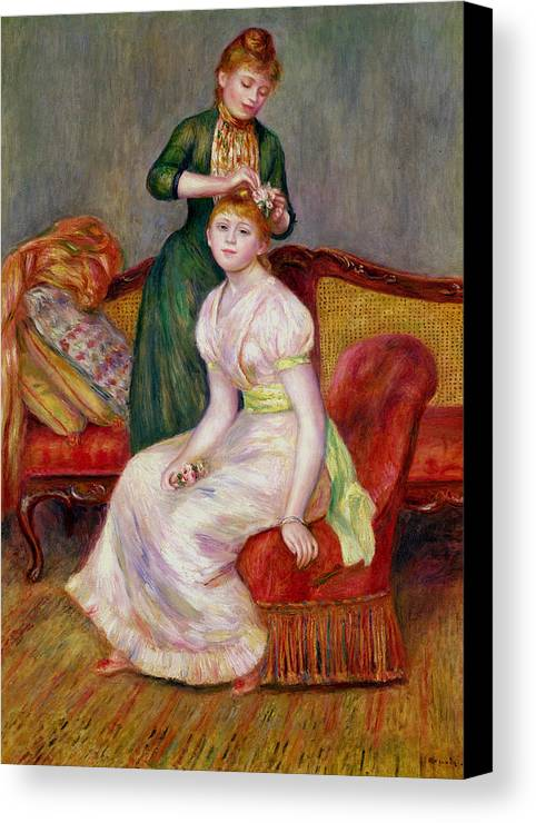 Coiffure Canvas Print featuring the painting La Coiffure by Renoir