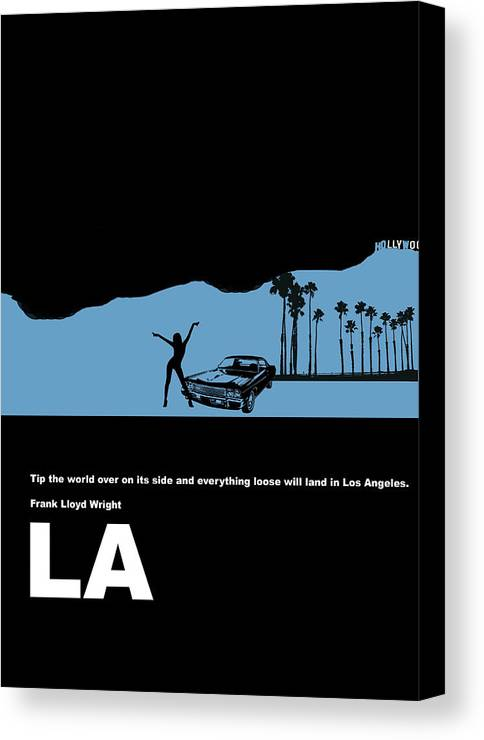 Los Angeles Canvas Print featuring the digital art La Night Poster by Naxart Studio