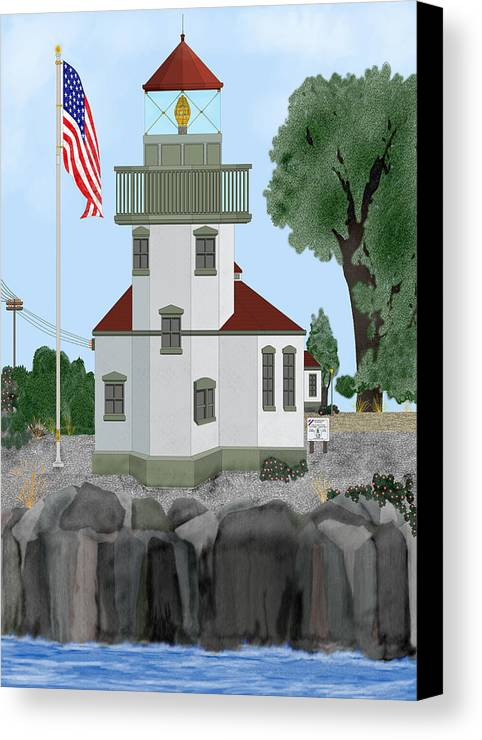 Lighthouses Canvas Print featuring the painting Lime Kiln Light On San Juan Island by Anne Norskog