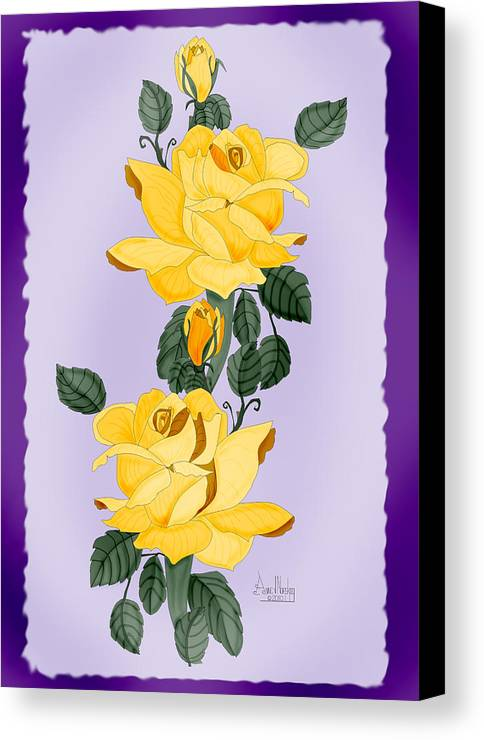 Yellow Roses Canvas Print featuring the painting Locked In Color by Anne Norskog