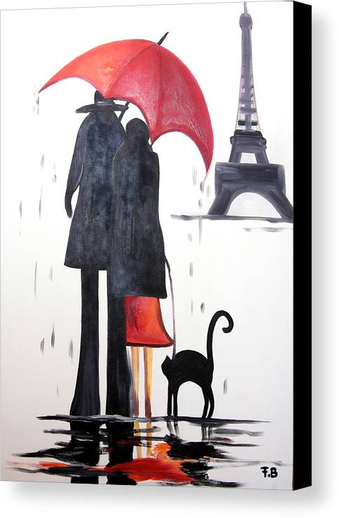 Love Canvas Print featuring the painting lovers in Paris by Fabjola Bramo