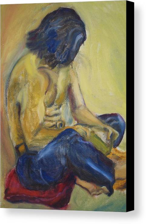 Male Canvas Print featuring the painting Man Reading by Lessandra Grimley