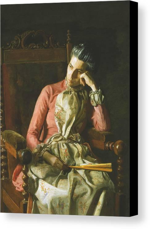 Thomas Eakins Canvas Print featuring the painting Miss Amelia Van Buren by Thomas Eakins