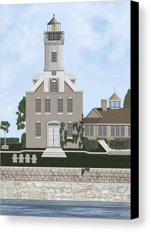 Lighthouse Canvas Print featuring the painting Morgan Point Mystic Harbor Conn by Anne Norskog