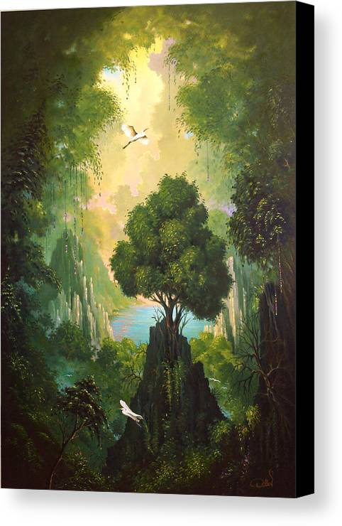 Landscape Canvas Print featuring the painting My Eden by Hans Doller