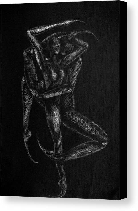 Dancers Canvas Print featuring the drawing n12 of Birds series by Nani Nogara