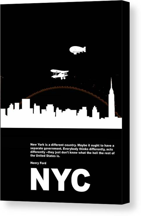 New York Canvas Print featuring the photograph Nyc Night Poster by Naxart Studio