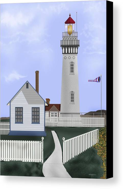 Lighthouse Canvas Print featuring the painting Pigeon Point Lighthouse California by Anne Norskog
