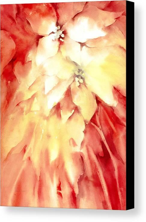 Poinsettias Canvas Print featuring the painting Poinsettias by Joan Jones