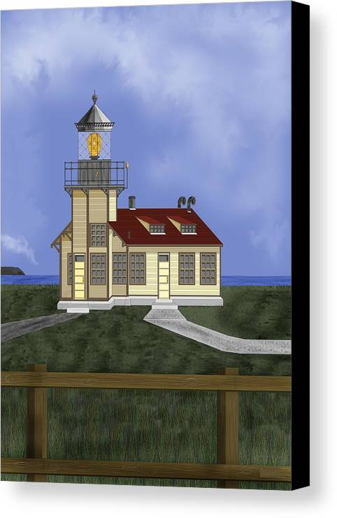 Lighthouse Canvas Print featuring the painting Point Cabrillo California by Anne Norskog