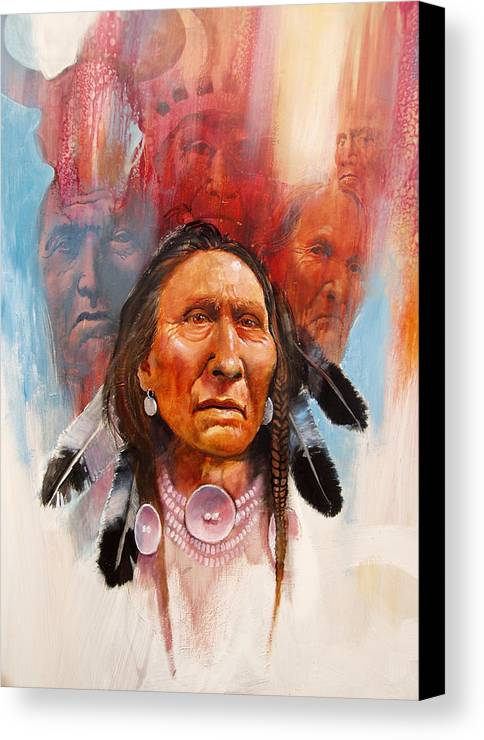 Native American Canvas Print featuring the painting Proud Warrior by Robert Carver