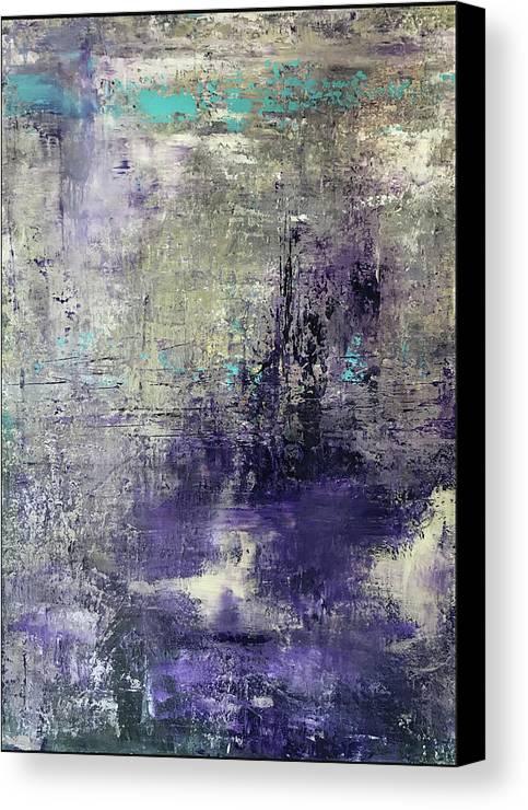John Cammarano Abstract Painting Purple Blue Green Canvas Print featuring the painting Purpletan by John Cammarano