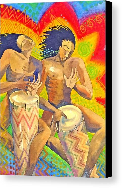 Drumming Caribbean Rythm Vibrance Colourful Rasta Canvas Print featuring the painting Rasta Rythm by Jennifer Baird