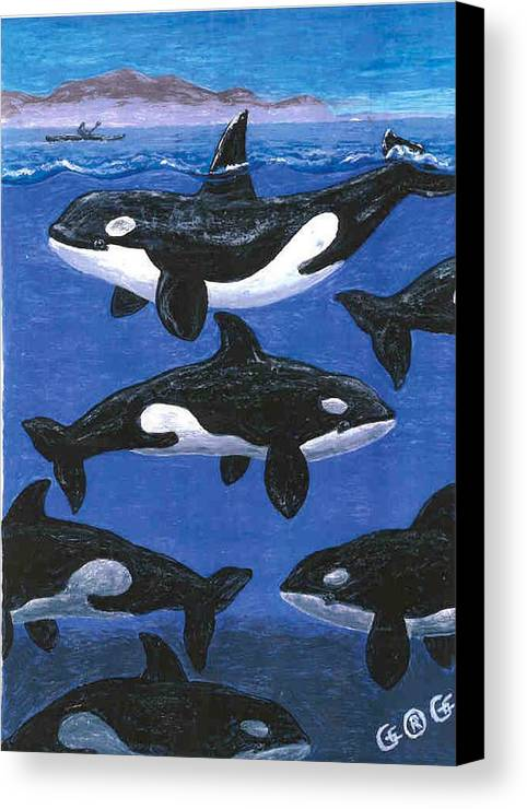 Orcas Canvas Print featuring the painting Return Of The Whale by George I Perez