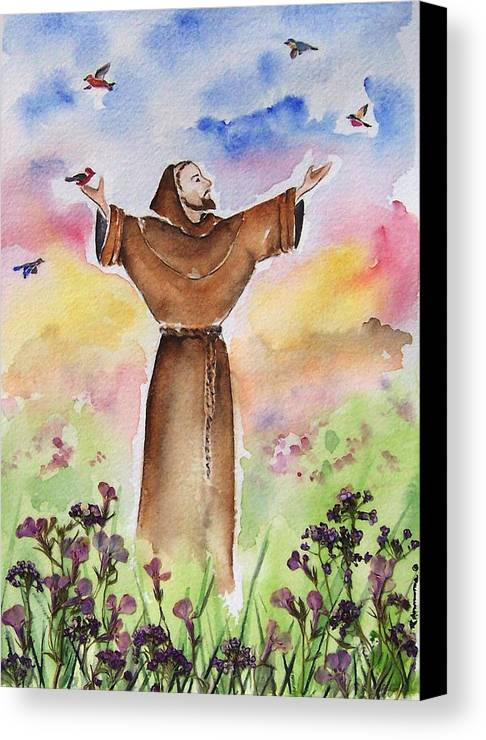 Catholic Canvas Print featuring the painting St Francis Of Assisi by Regina Ammerman