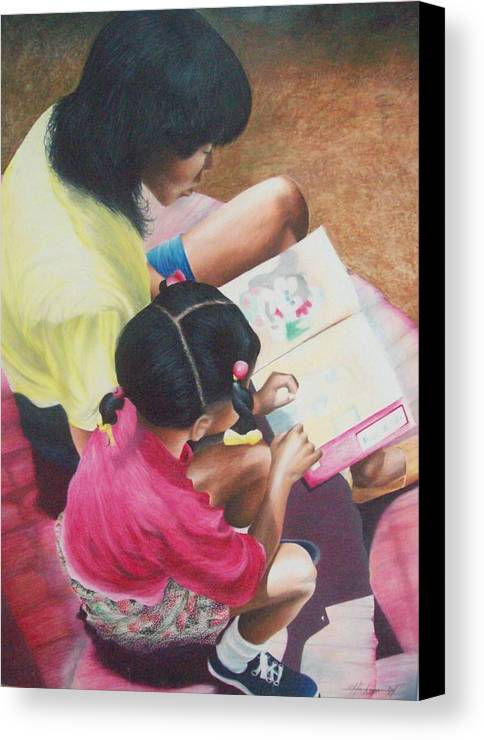 Colored Pencil Canvas Print featuring the drawing Storytime On The Steps 1 by Sylvester Hickmon