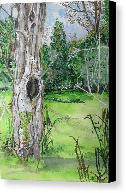 Landscape Canvas Print featuring the painting Swamp Thing by Cat Varno