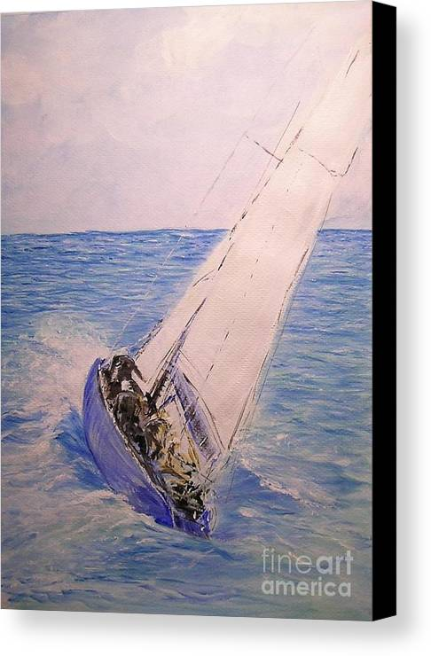 Seascape Canvas Print featuring the painting Tell Tails In The Wind by Lizzy Forrester