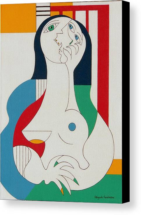 Women Fingers Nails Modern Humor Canvas Print featuring the painting Thanks by Hildegarde Handsaeme