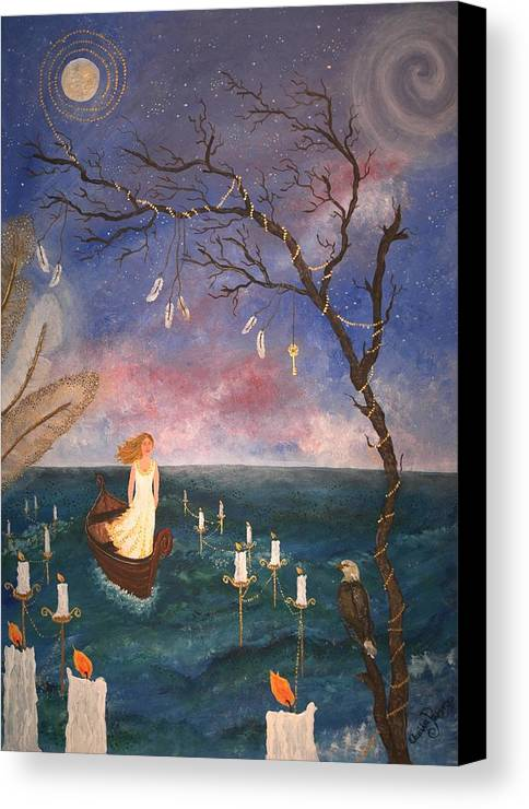 Moonlight Canvas Print featuring the painting The Longest Journey. by Annika Persson