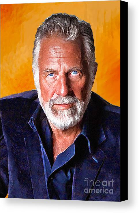 Portrait Paintings Canvas Print featuring the painting The Most Interesting Man In The World II by Debora Cardaci