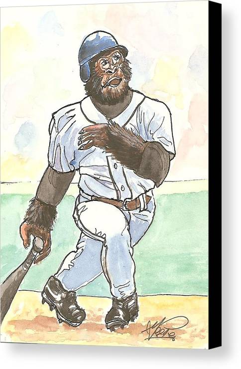 Baseball Canvas Print featuring the painting There It Is by George I Perez