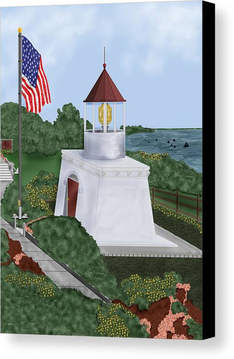 Trinidad Memorial Canvas Print featuring the painting Trinidad Memorial Lighthouse by Anne Norskog