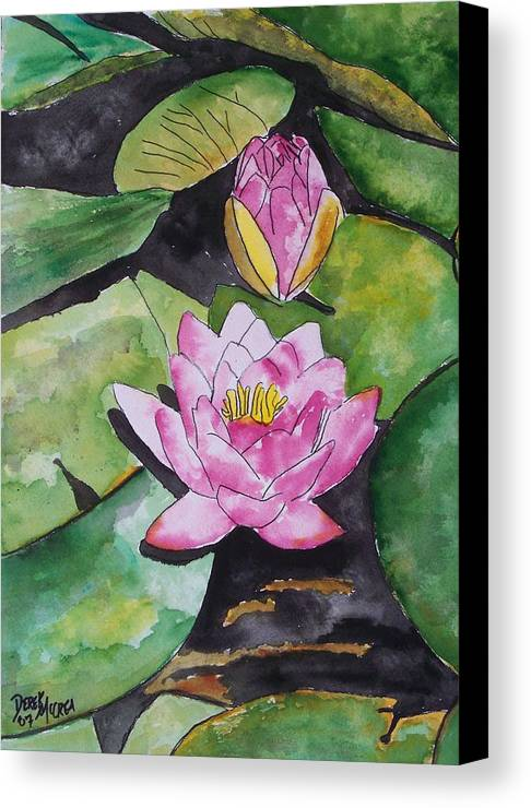 Water Lily Canvas Print featuring the painting Water Lily by Derek Mccrea