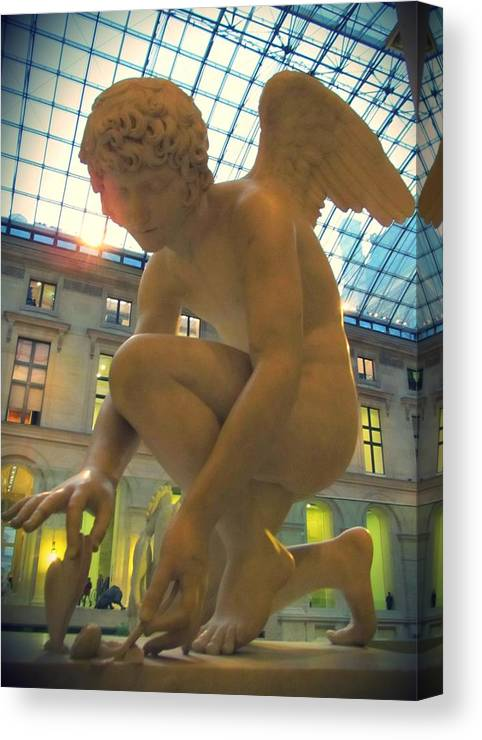 Cupid Playing With A Butterfly Canvas Print featuring the photograph Cupid Playing With A Butterfly - Louvre Museum Paris by Marianna Mills