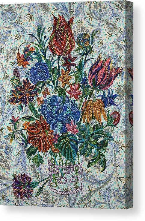 Floral Canvas Print featuring the painting Floral Arrangement by Erika Pochybova