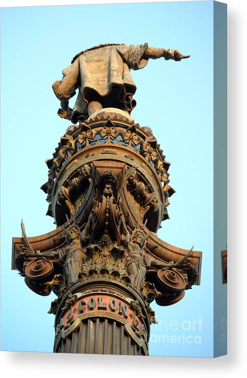 Ancient Canvas Print featuring the photograph Columbus Column On The Barcelona Habour With High Details by Aleksandar Mijatovic