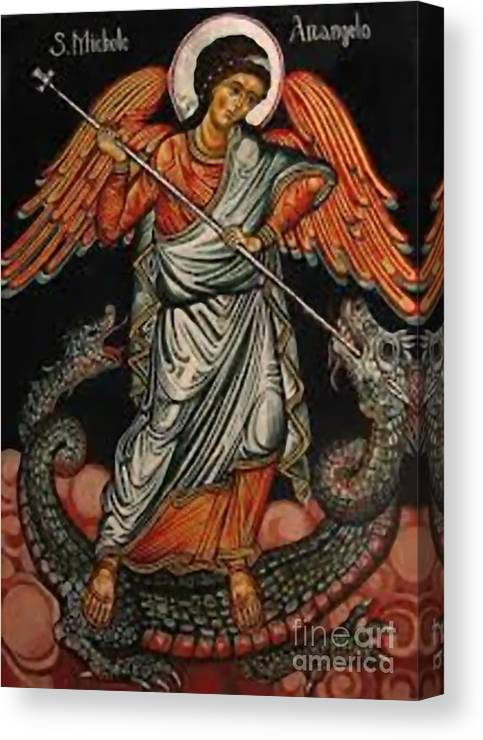 Warrior Canvas Print featuring the painting Saint Michael by Archangelus Gallery