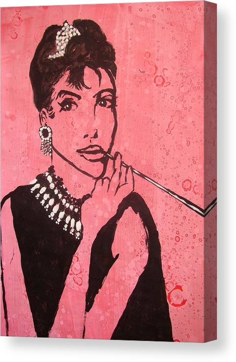 Female Canvas Print featuring the painting Audrey Hepburn by William Bryant