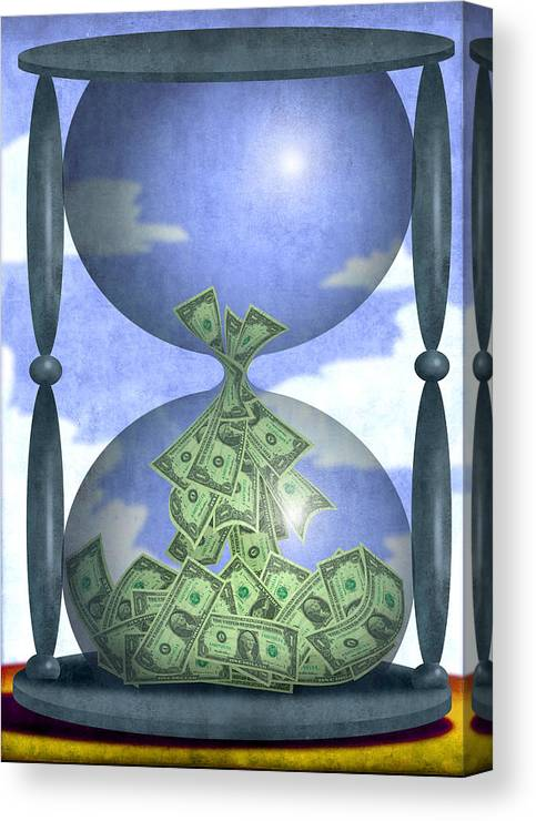 Steve Dininno Canvas Print featuring the digital art Hourglass Dollars by Steve Dininno