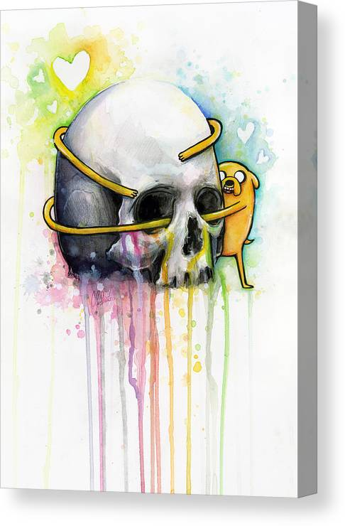 Adventure Time Canvas Print featuring the painting Jake The Dog Hugging Skull Adventure Time Art by Olga Shvartsur