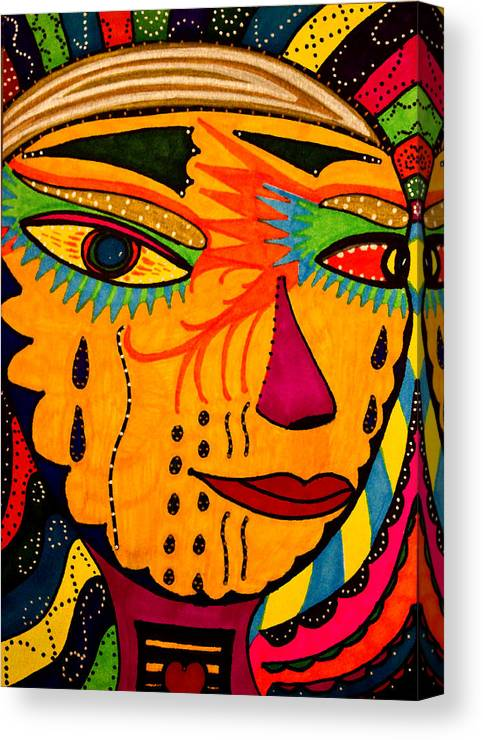 Mask Canvas Print featuring the painting Masks We Wear - Face by Marie Jamieson