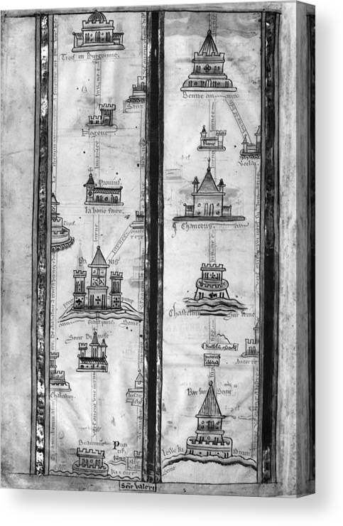 1250 Canvas Print featuring the drawing Pilgrims' Map, C1250 by Granger