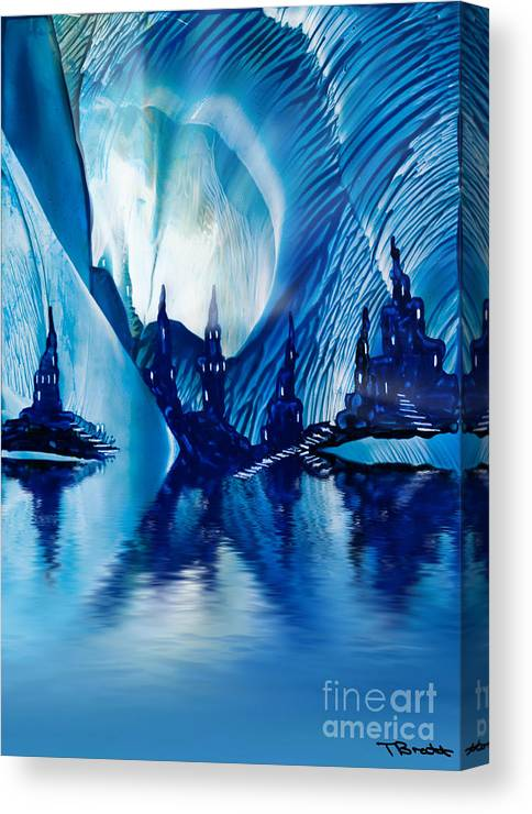 Art Canvas Print featuring the painting Subterranean Castles Wax Painting In Blue by Simon Bratt Photography LRPS