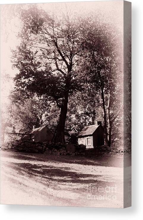 Black And White Canvas Print featuring the photograph The Farm Bristol Rhode Island by Tom Prendergast