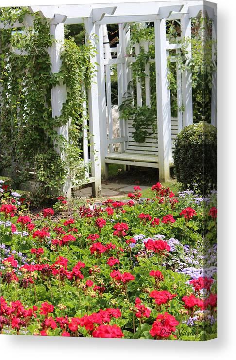 Flower Garden Seat Canvas Print featuring the photograph Flower Garden Seat by Debra   Vatalaro